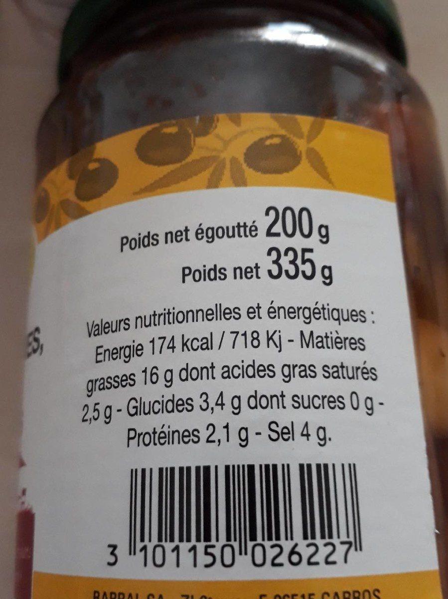 Mélange d'olives moins et poivrons - Nutrition facts - fr