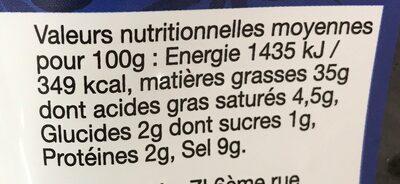 Olives noires à la grecque - Nutrition facts - fr