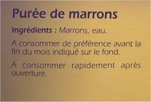 Purée de marrons - Ingredients