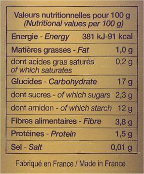 Purée de marrons - Nutrition facts