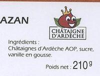 Marrons glaces d'ardeche - Ingredients - fr
