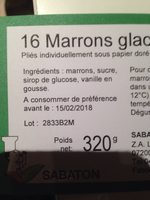 16 Marrons glacés - Ingredients - fr