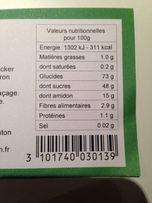 16 Marrons glacés - Nutrition facts - fr