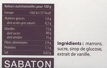 Marrons glacés, petits, cassés - Nutrition facts - fr
