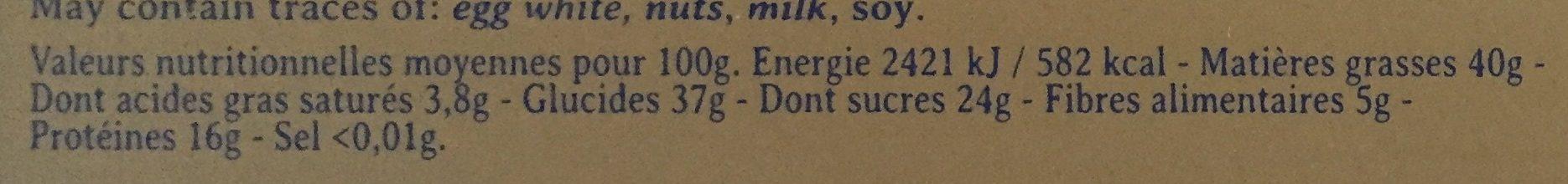 Nougat noir du roy rené - Informations nutritionnelles - fr