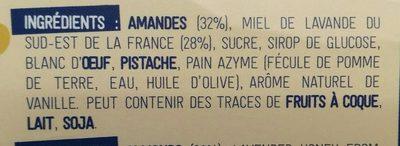 Nougat blanc du Roy René - Ingrédients