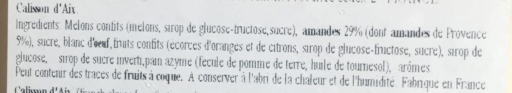 Calissons du Roy René - Ingrédients - fr