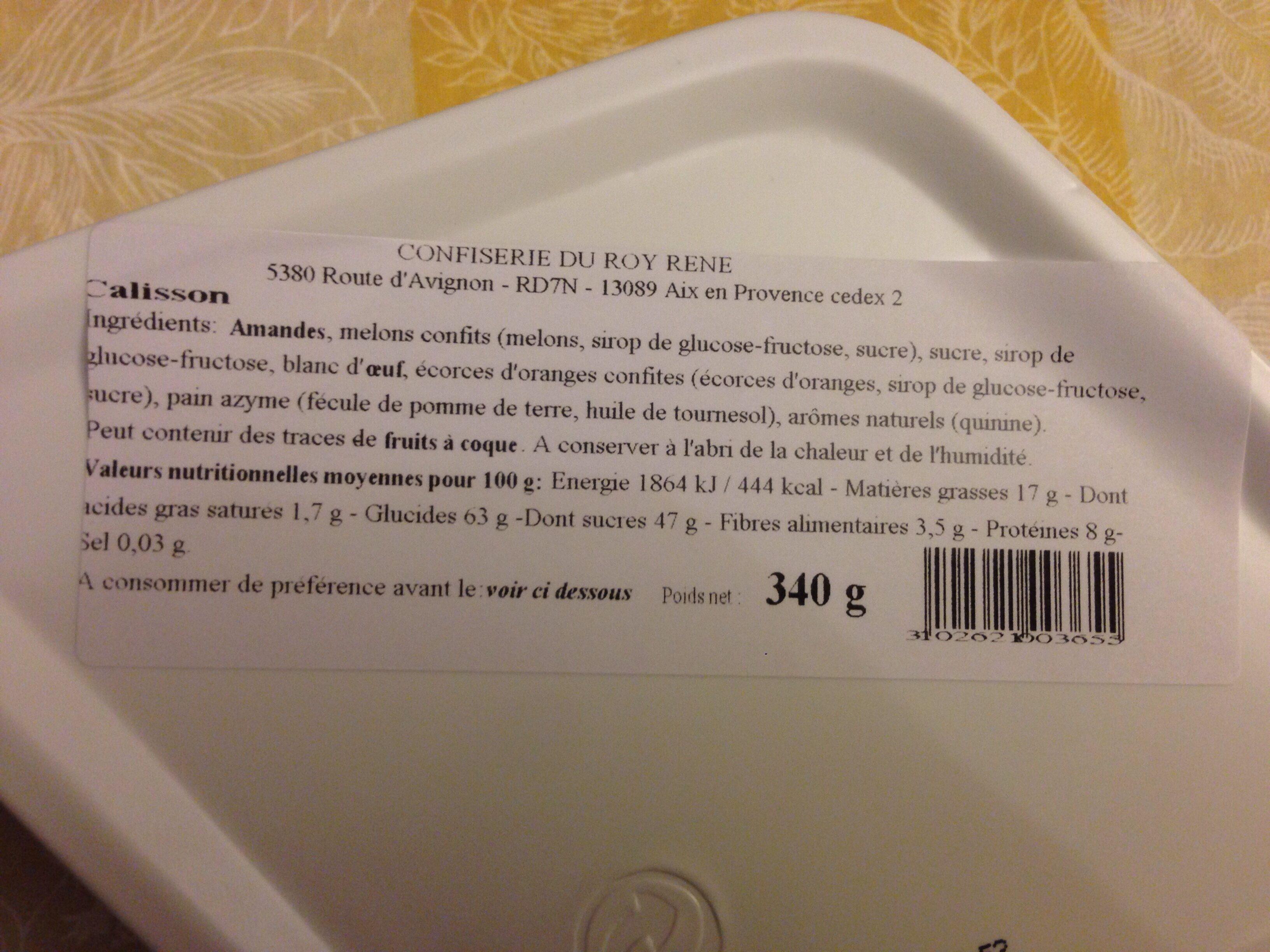 Bonbons Calisson d'Aix Roy René - Ingrediënten - fr