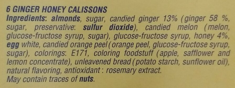 Calissons du roy rene Gingembre miel - Ingredients