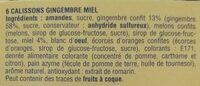Calissons du roy rene Gingembre miel - Ingrédients