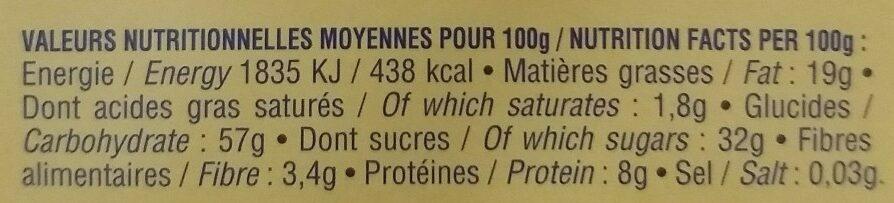 Calissons du roy rene Gingembre miel - Informations nutritionnelles