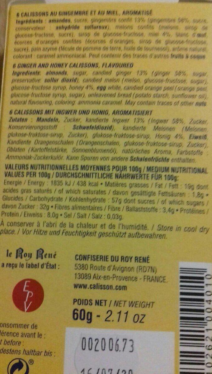 Calissons du roy rene - Informations nutritionnelles - fr