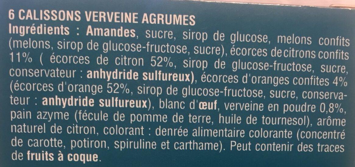 Calissons verveine agrumes - Ingrédients - fr
