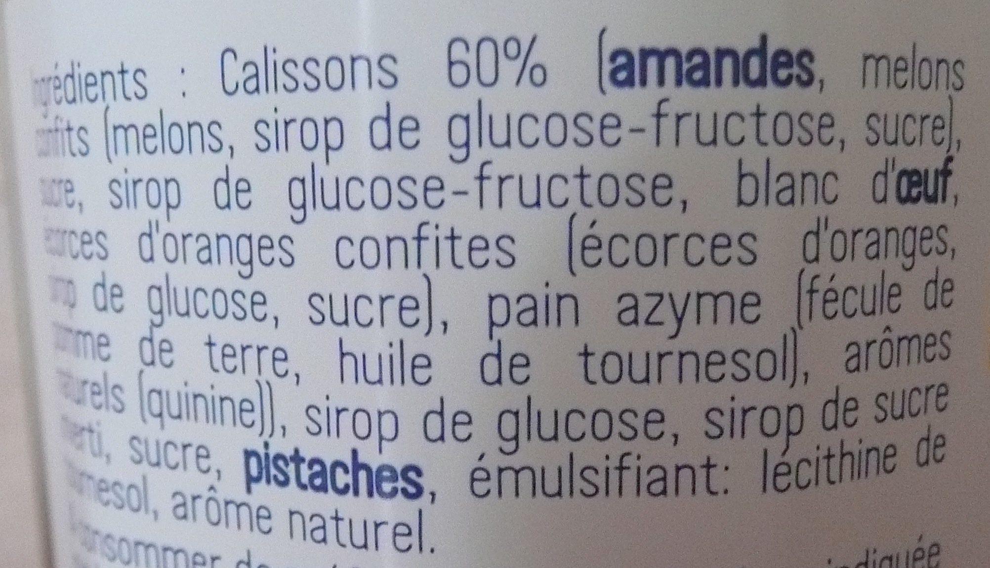 Crème de calissons - Ingrediënten - fr