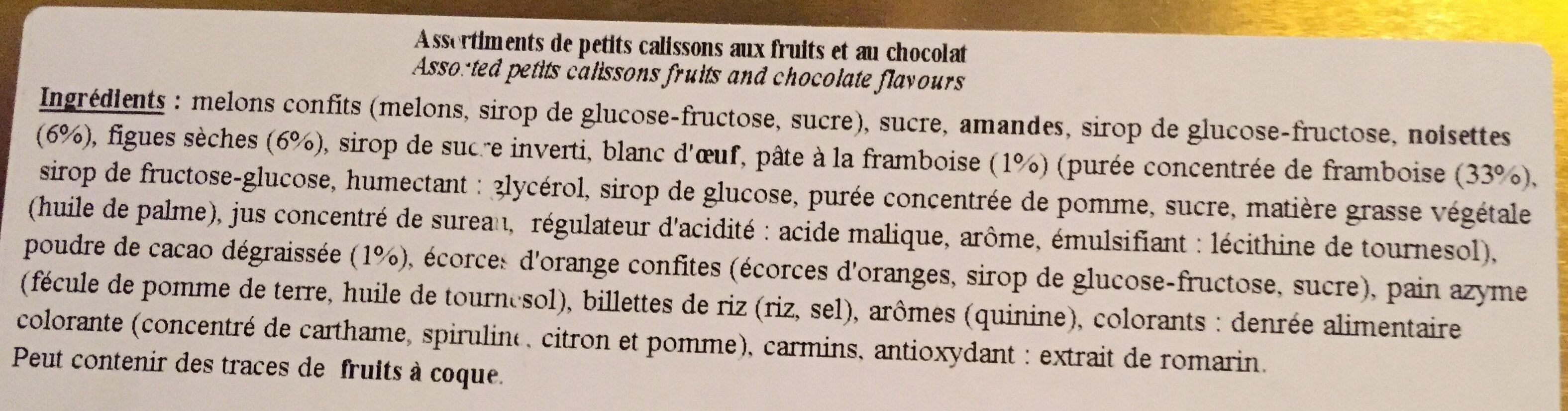 PETITS CALISSONS - Ingrédients - fr