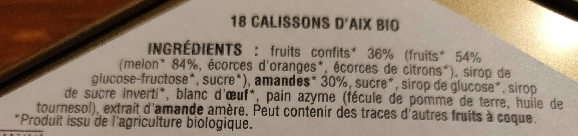 Calissons D'Aix bio - Ingredients