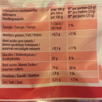 Fraises Tagada Haribo - Informations nutritionnelles