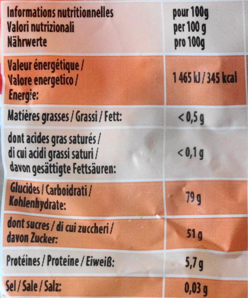 Croco - Informations nutritionnelles