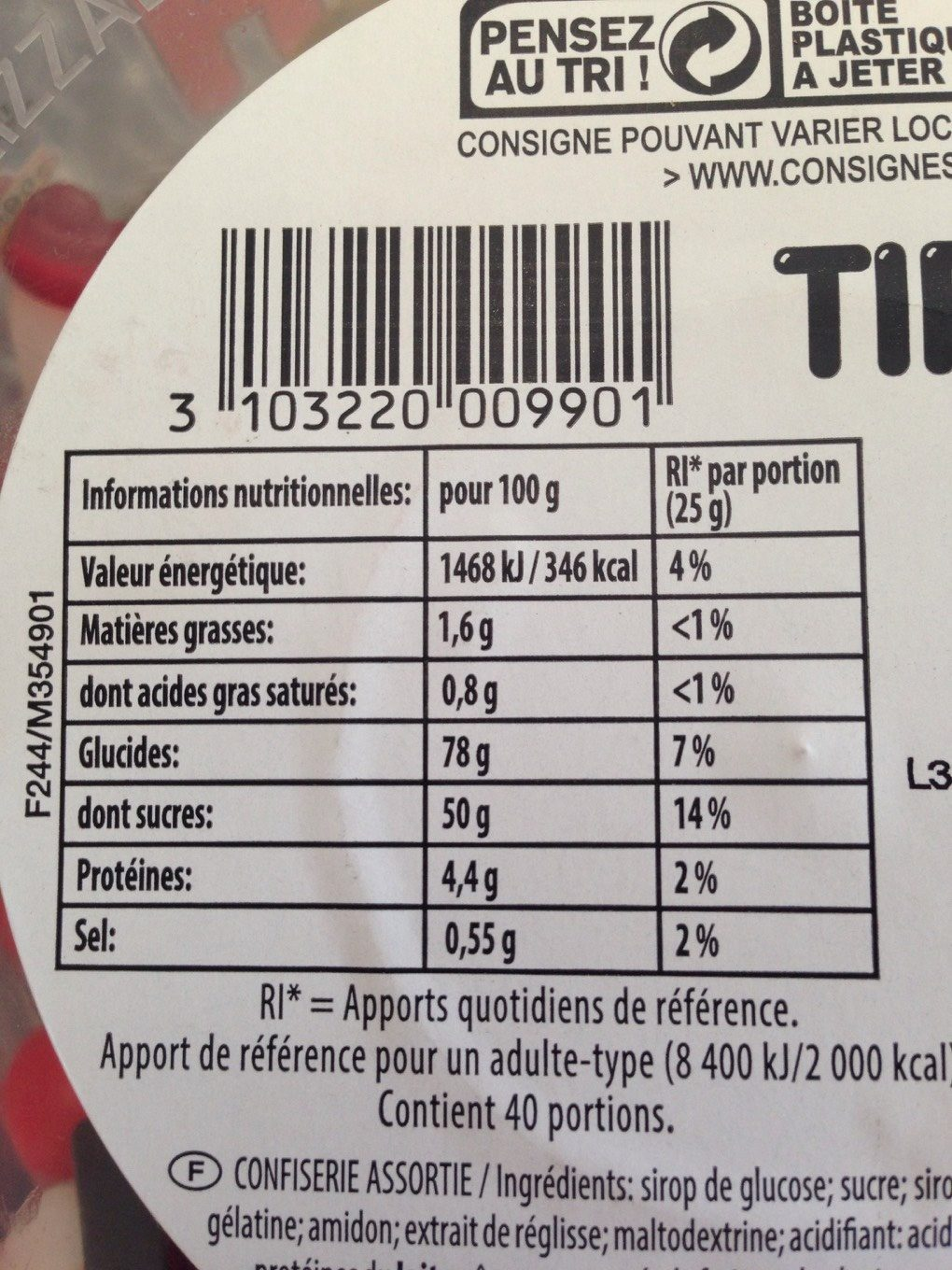 Happy'Box - Nutrition facts