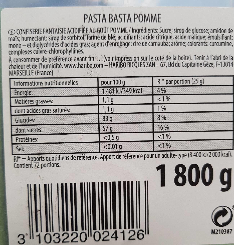 Confiserie fantaisie au goût pomme - Informations nutritionnelles - fr