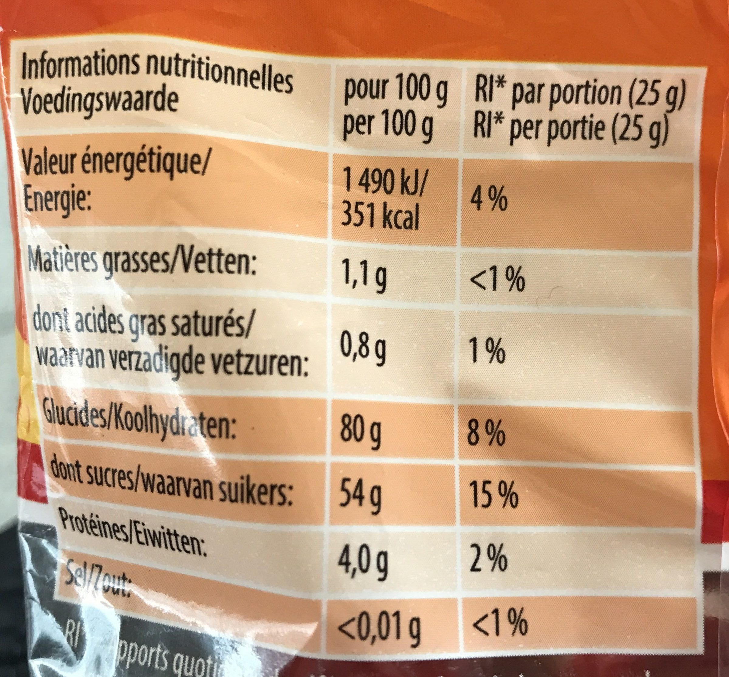 World Mix - Nutrition facts