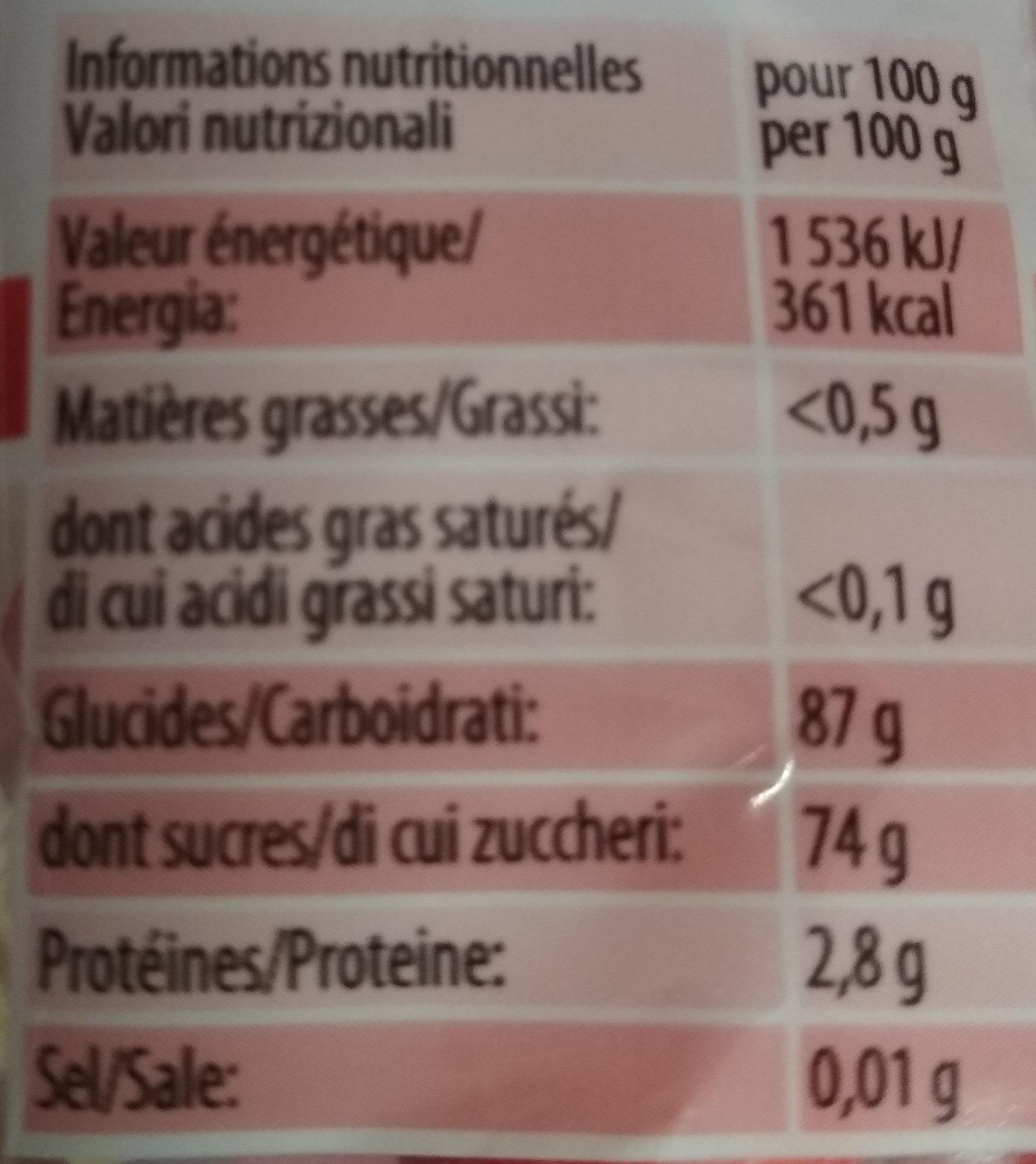 Fraises Tagada - Informations nutritionnelles