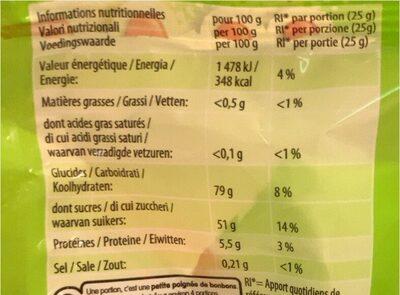 Confiserie gélifiée acidifiée - Nutrition facts - fr