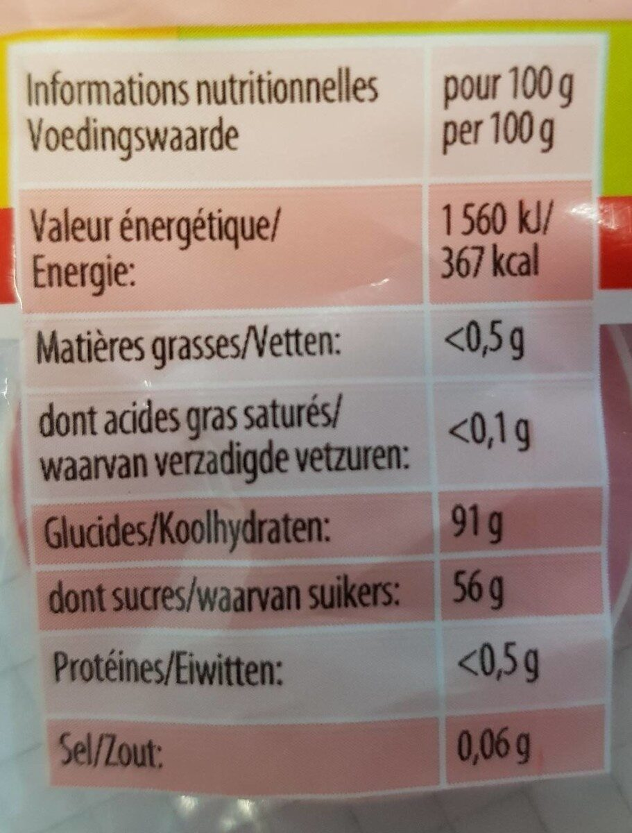 Haribo Dragibus Soft - Informations nutritionnelles - fr