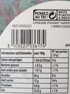Bonbon Gélifié London Pik x 300 Pièces 1,91 - Informations nutritionnelles