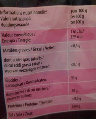 Bonbons Mega Fête Dragibus - Informations nutritionnelles - fr