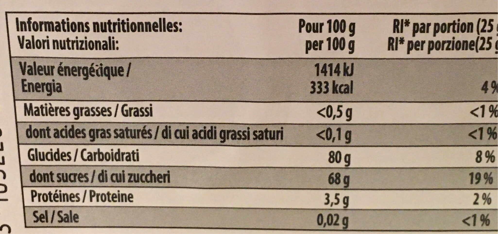 Chamallow - Nutrition facts