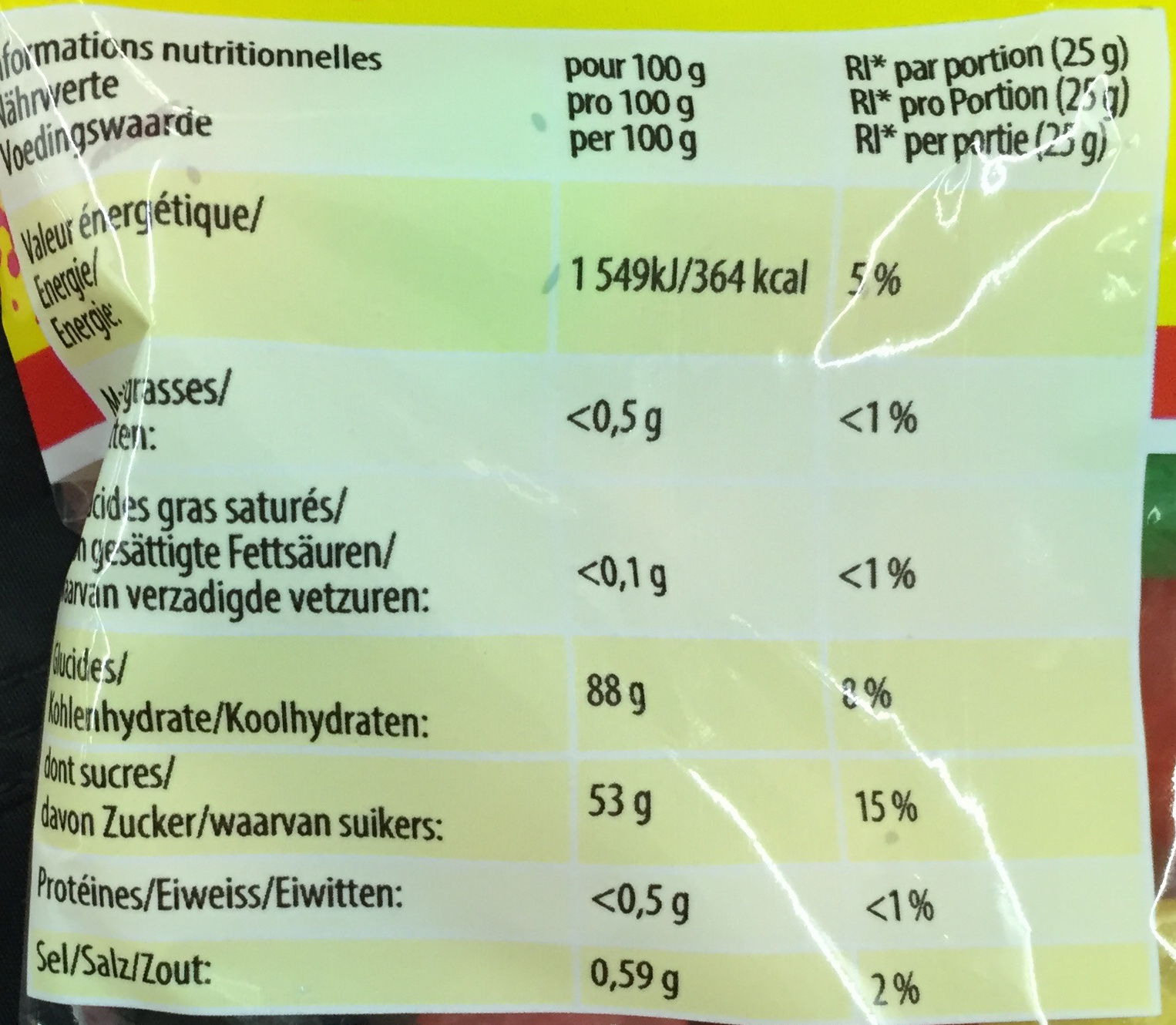 Dragibus P!k - Nutrition facts