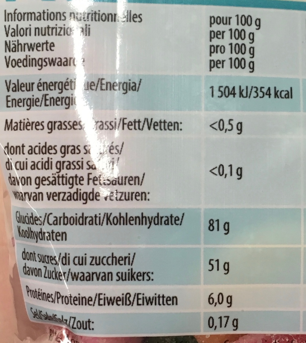 Academy P!k - Informations nutritionnelles - fr