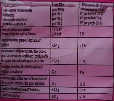 Haribo Dragibus Soft - Información nutricional - en