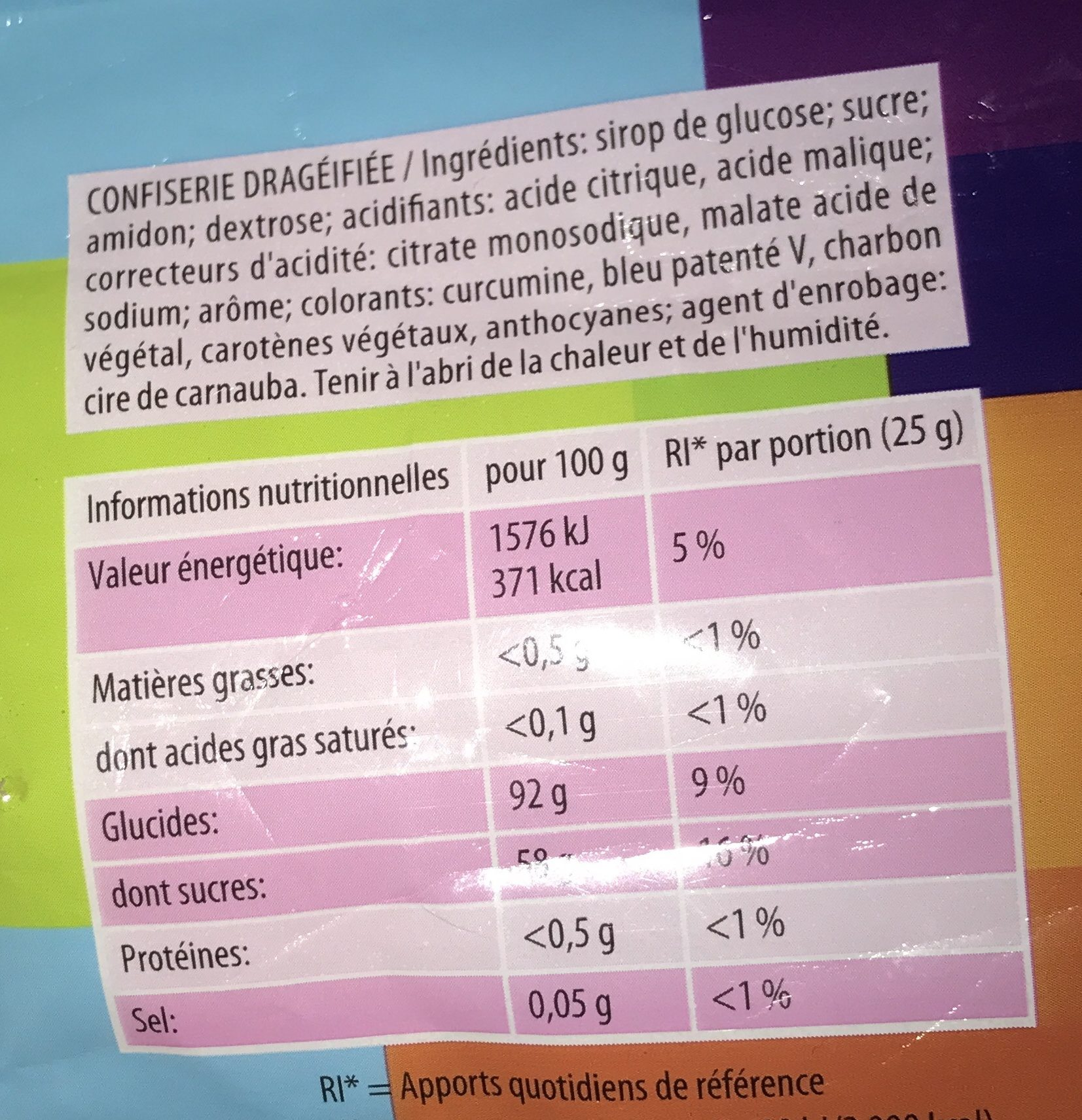 Bonbons Dragibus - Ingredients