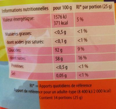 Bonbons Dragibus - Informations nutritionnelles