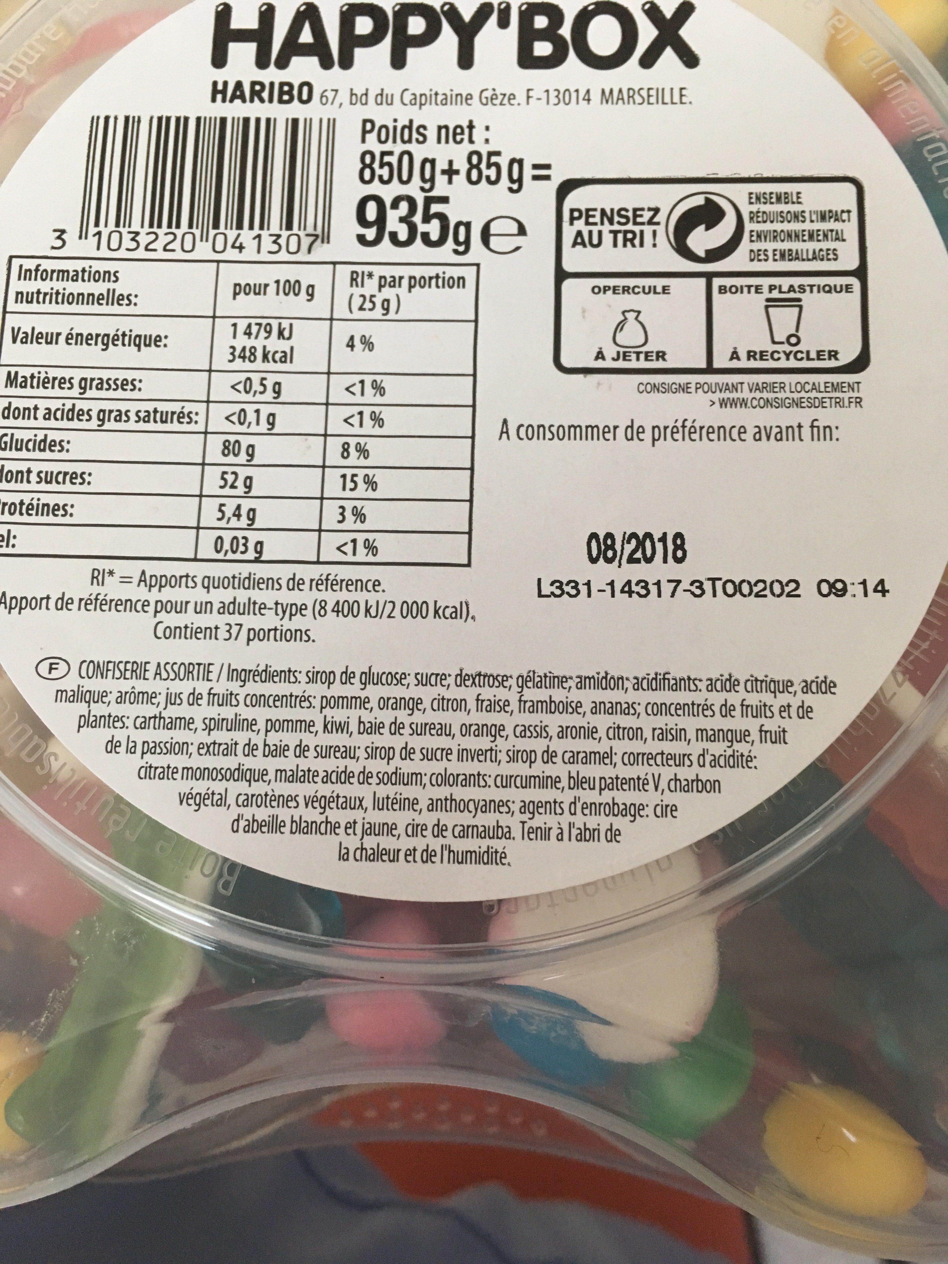 Bonbons Happy' box 850 g - Ingrédients - fr