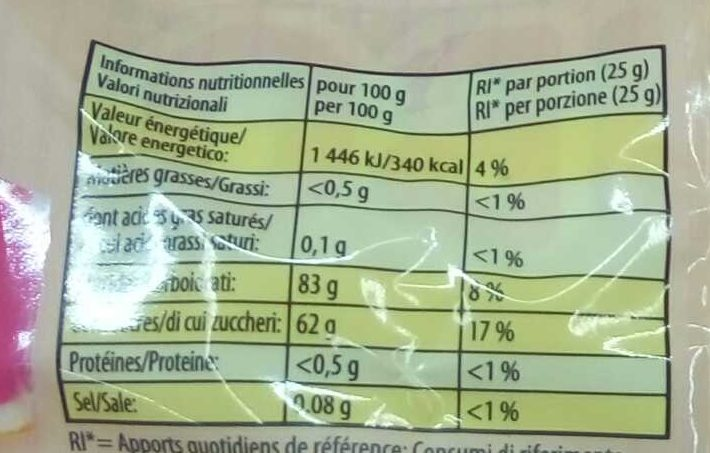 Fruitmania Agrumes - Nutrition facts