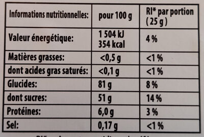 Haribo The Pik Box - Informations nutritionnelles