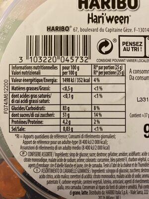 Hariween - Informations nutritionnelles - fr