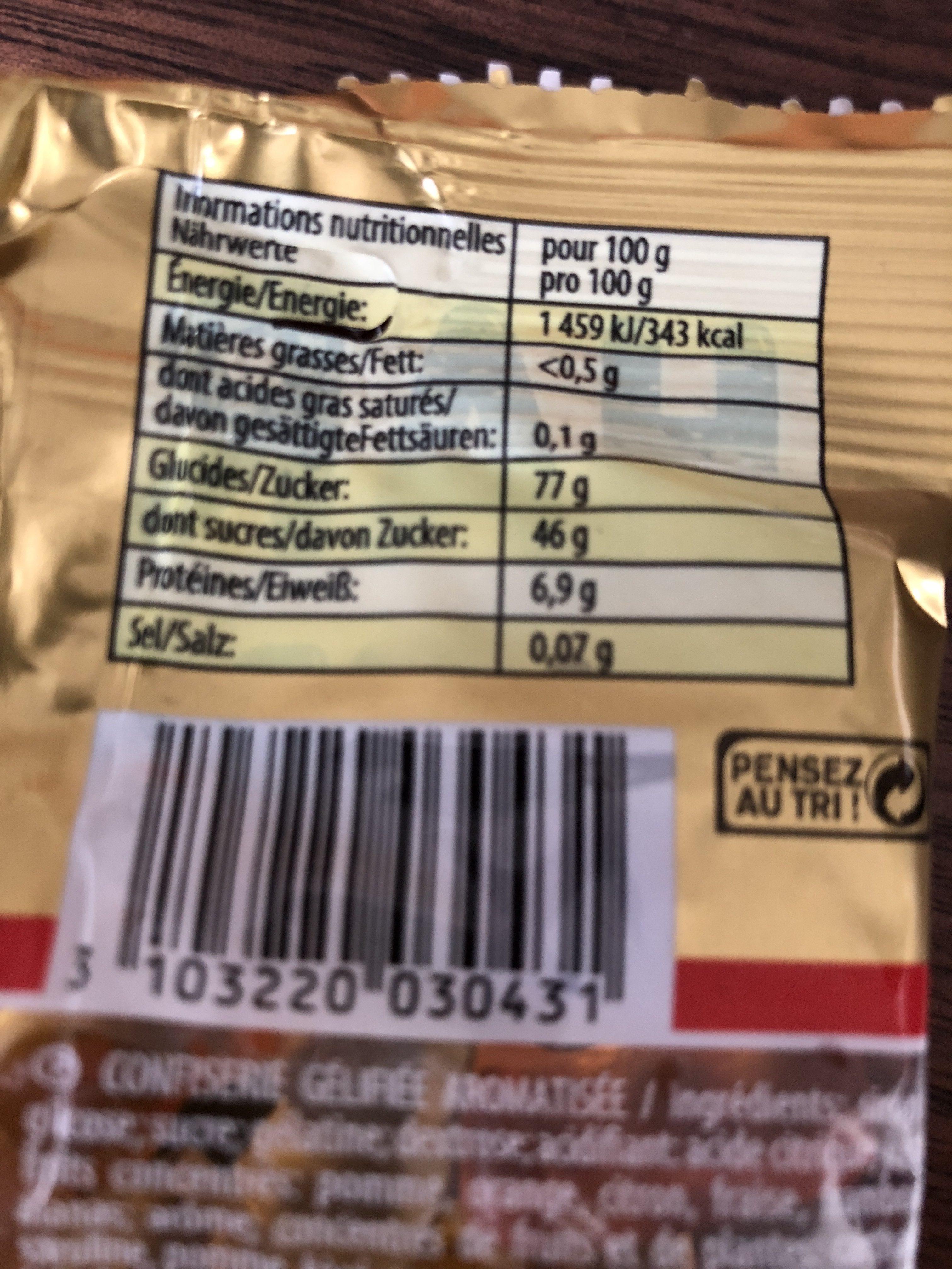Confiserie gélifiée aromatisée Ours d'Or, les 30 sachets de - Ingrédients - fr