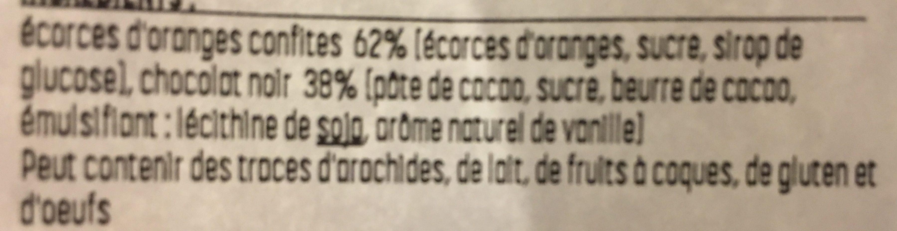 Orangettes Chocolat Noir - Ingrédients
