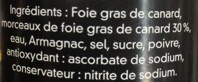 Bloc de Foie Gras de Canard avec Morceaux - Ingrediënten - fr