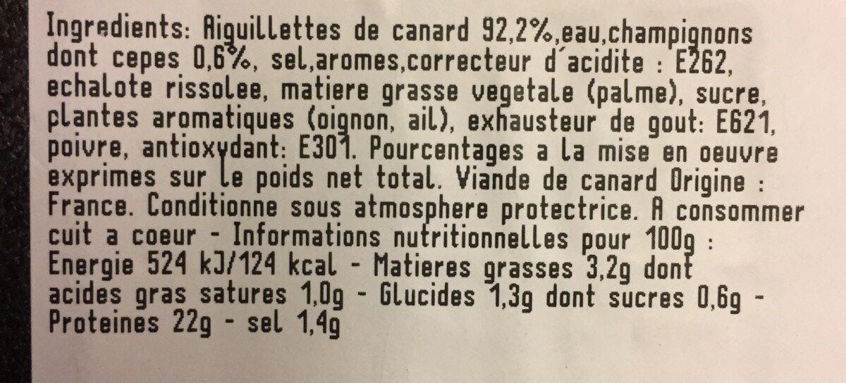 Aiguillettes de canard aux cèpes - Ingrediënten