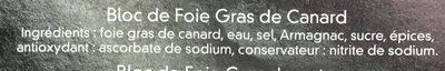 Bloc de Foie Gras de Canard - Ingrediënten - fr