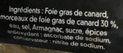 Bloc foie gras de canard avec morceaux - Ingrediënten - fr