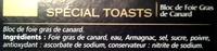 Bloc Foie gras Spécial Tosats - Ingredients - fr