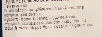Magret de canard du Sud-Ouest, fumé au bois de hêtre - Ingrediënten