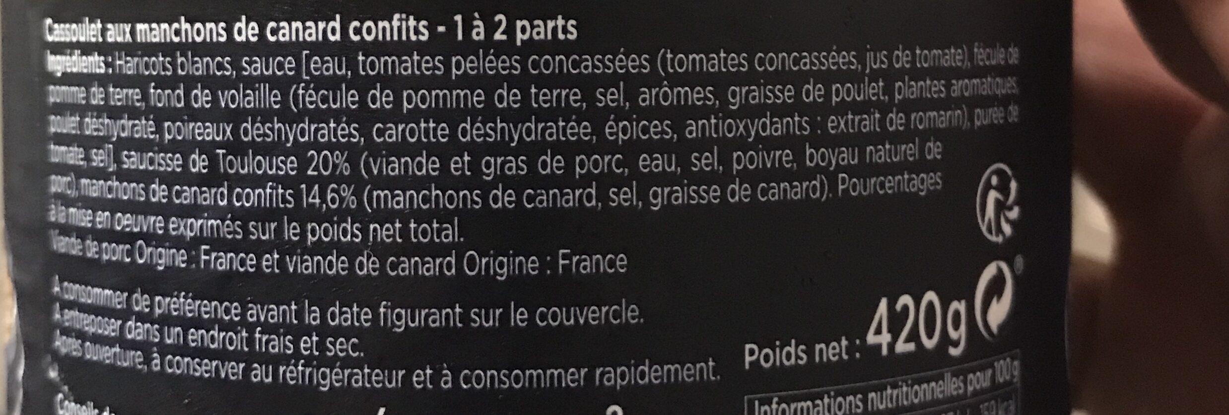 Le Cassoulet Gourmand au confit de canard - Ingrédients - fr