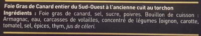 Authentique foie gras de Canard entier du Sud-Ouest - Ingrédients